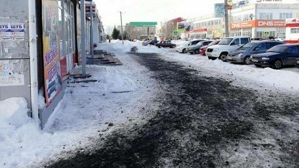 Сибиряки возмущены чёрным субстратом на тротуарах и дымом из котельных